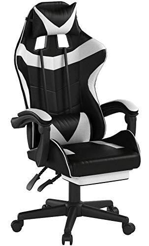 Soontrans Gaming Stuhl 150 kg Belastbarkeit, Chefsessel mit Fußstütze, Höhen- und Rückenlehne Verstellbar, Ergonomischer Computerstuhl Bürostuhl Drehstuhl, mit Kopf- und Lendenwirbelpolster (Weiß)