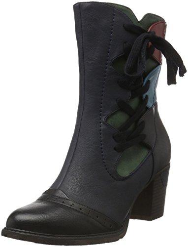 Rieker Damen 96063 Kurzschaft Stiefel, Schwarz (Schwarz/Pazifik/Tanne/Azzuro/Rot / 00), 38 (Und Rote Schwarze Stiefel)