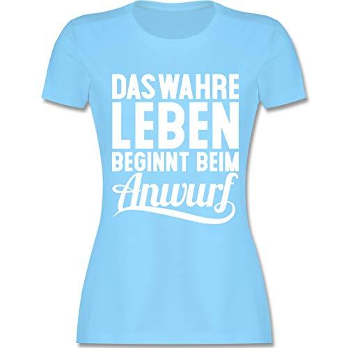 Handball WM 2019 - Das wahre Leben beginnt beim Anwurf - S - Hellblau - L191 - Damen T-Shirt Rundhals