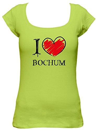 I love Bochum Fun Damen Boat Neck T-Shirt, Größe:S;Farbe:mintgrün