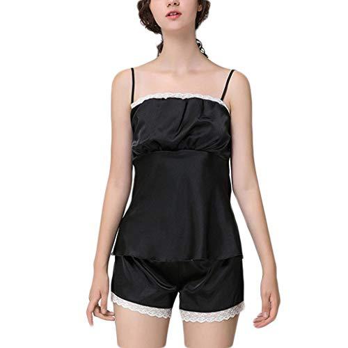 Linkay Damen Nachthemden Schlafanzugoberteile Bequem Schlinge Zuhause Schlafanzughosen Ärmellose Shorts Pyjama Gesetzt Mode 2019 (Schwarz, Large) -