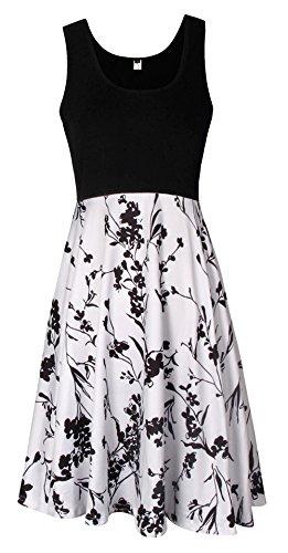 ELFIN® Damen Kleid Herbst 3/4 Arm Rundhals Blumenkleider Cocktail Partykleid Casual Basic A-Linie Kleider Jerseykleid Stretch Knielang