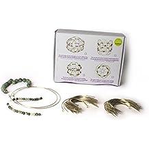Mándala tibetano alambre. Dos coronas iguales, Jade y cuarzo verde. Para montar. Flor de loto minerales naturales. DIY.