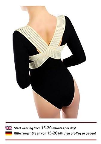 ®BeFit24 Orthèse de soutien de la colonne vertébrale cyphose de BeFit24 - Correcteur de la posture des épaules arrondies et du haut du dos - Fabriqué en Europe – Garantie de 5 ans - [ Taille 1 - Beige ]