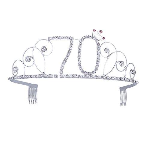 Frcolor Alles Gute zum Geburtstag 70. Kristall Strass Tiara Krone