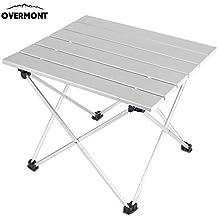 Overmont mesa tabla plegable portable de aluminio ultraligero para camping jardín senderismo picnic playa viajes pesca y barbacoa M/L multicolor con bolsa de almacenaje