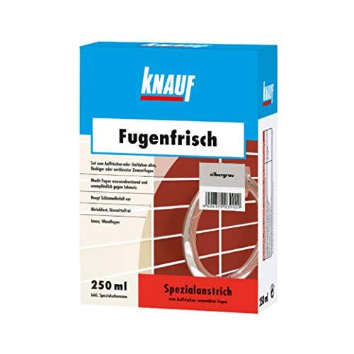Knauf Fugen-Frisch zur Farb-Auffrischung alter Fugen - Spezialanstrich zum Auffrischen oder Färben verblasster Zement-Fugen: der Spezial-Reiniger beugt Schimmelpilz-Befall vor, Silber-Grau, 250-ml
