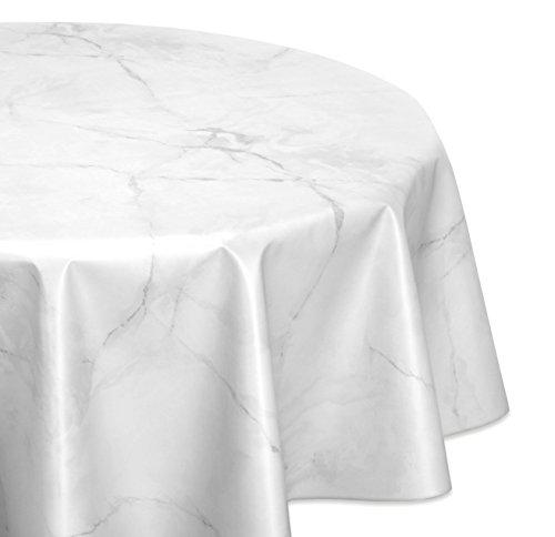 Wachstuchtischdecke glatt abwischbar OVAL RUND ECKIG, Marmorstein Wachstuch Garten Tischdecke, Größe und Farbe wählbar (Eckig 140x180 cm Weiß) (Garten Farbe)