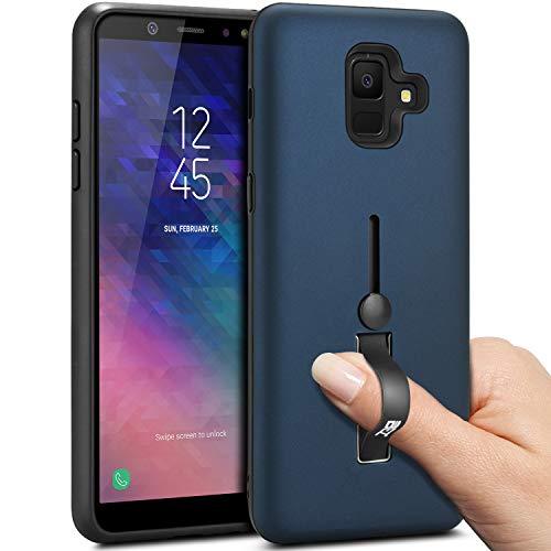 BEZ® Hülle für Samsung A6 2018 Hülle, Handyhülle Kompatibel für Samsung Galaxy A6 2018 Smartphone Fingerhalter mit Standfunktion, Stoßdämpfung und Kratzabweisung, Blau Marine -