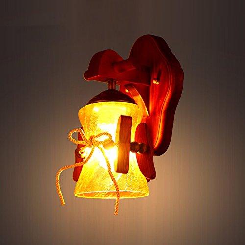 C&L Rétro Applique, Solide Bois Applique Pastorale Personnalité Créative Chambre Bar Restaurant Café Club Mur Lampe E27 (taille : 13 * 33cm)