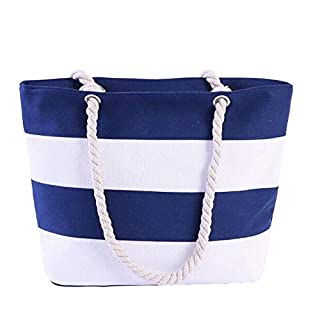AIYoo Women Canvas Handbag Simple Stitching Color Design Stripes Beach Shoulder Bag,Causal Shopping Bag Shopper Tote Bag School Bag for Holiday and Travel with Cotton Rope Handle