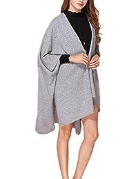 Prettystern - 100% Kaschmir einfarbig Poncho Stola Schal für Damen warm kuschelig weich mit Knöpfen