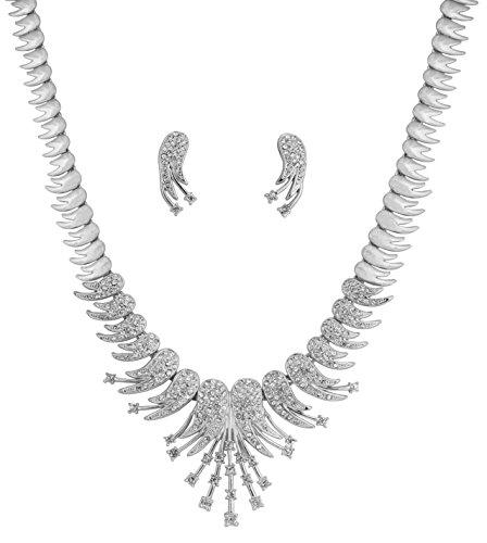 glamour Jazzy und funkelnden Feder Thema Weiß Strass Braut Designer Schmuck Halskette Set für Frauen in Silber Ton ()