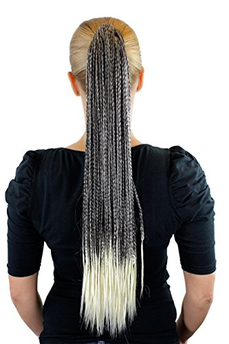 Haarteil Braun mit blonden Spitzen ca.60cm geflochtene Zöpfe glatt JL-3138-4T613
