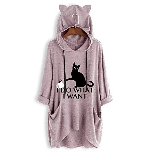 INLLADDY Kapuzenpullover Damen Katze Ohr Print Langarm unregelmäßige T-Shirt Tasche lose Top lässig Hoodie Rosa M