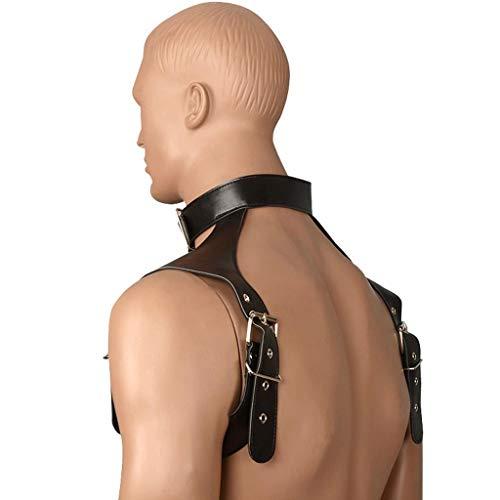 Kostüm Rüstung Brust - WRZH Herren Ledergurte Choker Half Body Brustgurt Verstellbare Schnalle Gürtel Performing Rüstung Kostüme Jeans