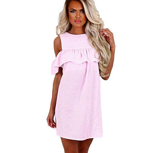 Newbestyle Sommer Kleid Damen Mini Schulterfreie Gestreifte Kleider Rosa S (Rosa Gestreifte Kleid)