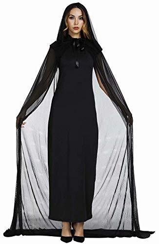 Josamogre Hexenkostüm Erwachsene Hexen kostüm lang edel mit Hut Damen Hexenkleid Fasching Halloween Cosplay Schwarz s (Erwachsene Hexe Kostüme Zubehör)