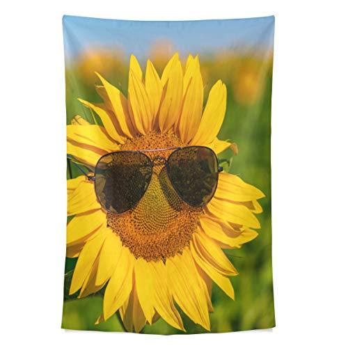 Sonnenblume mit Sonnenbrille Wandteppich Wandbehang Cool Post Print für Wohnheim Home Wohnzimmer Schlafzimmer Tagesdecke Picknick Bettlaken 80 X 60 Zoll