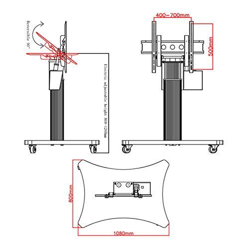 Xue Mobile TV Display Stand Piano, Regolazione Elettrica Altezza/Elettrico  Flip TV per 46-65 Pollici A LED LCD al Plasma Flat Panel con Ruote Mobili  ...