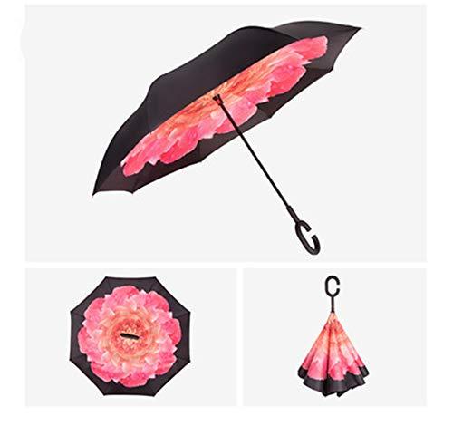 YuYa Sonnenschirm Freier C-Griff doppelter Umkehrschirm winddichter Regenschirm automatischer Umkehrschirm D36 105cm