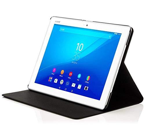 Forefront Cases Smart Hülle kompatibel für Sony Xperia Z4 10,1 Zoll Tablet-PC Hülle Schutzhülle Tasche Case Cover - Rundum-Geräteschutz Auto Schlaf Wach Funktion + Stift & Displayschutz (SCHWARZ)