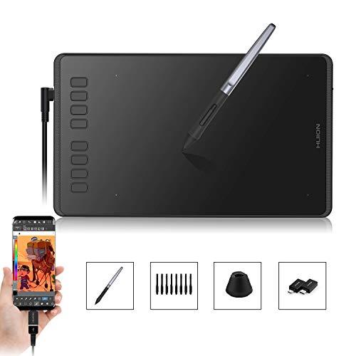 HUION Inspiroy H950P - 8,7 x 5,4 Zoll Grafiktablett für PC, OTG-Adapter für Android-Telefone und -Tablets, 8192 Ebenen Batterieloser Stift ± 60 ° Neigefunktion, 8 benutzerdefinierte Express-Tasten