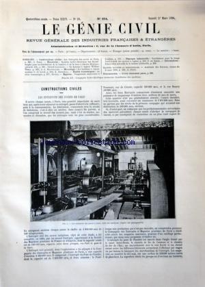 GENIE CIVIL (LE) [No 614] du 17/03/1894 - CONSTRUCTIONS CIVILES PAR FORIS -ELECTRICITE PAR LAVERGNE -LA DYNAMO A VAPEUR WILLANTHURY PAR MONTPELLIER -LES TURBINES A VAPEUR SYSTEME DE LAVAL PAR SOSNOWSKI -ETUDES ECONOMIQUES PAR EFFERE -PHYSIQUE INDUSTRIELLE PAR DE SOMER