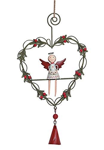 TEMPELWELT Deko Anhänger Weihnachtshänger Engel mit Glöckchen 23cm, aus Metall grün rot weiß, Metallanhänger Weihnachten Türanhänger Engelchen