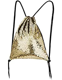 Tinksky Portable Drawstring Bag For Sports Outdoor Travel Pack (Gold)