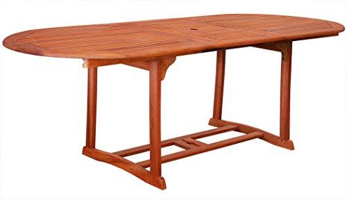 KMH, ausziehbarer Gartentisch 180-230*100 cm aus Eukalyptusholz (#101161)