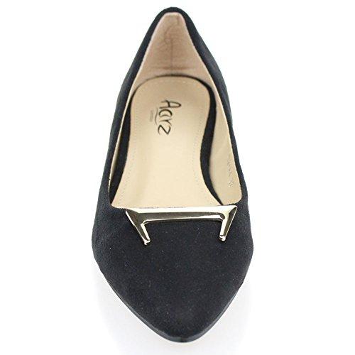 Aarz femmes Mesdames tribunaux Souliers Low Heel Sandales de soirée de mariage Taille (noir, kaki) Noir