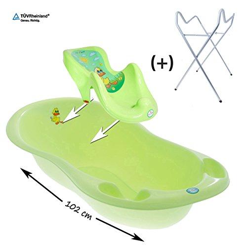 GoFuture 3er - Set Babybadewanne 102cm + Badesitz + Premium Ständer (Ente Grün)
