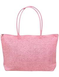 Gleader Moda para mujer de tejido de la armadura de la paja del verano del hombro del totalizador del bolso del bolso de compras de la playa - rosa