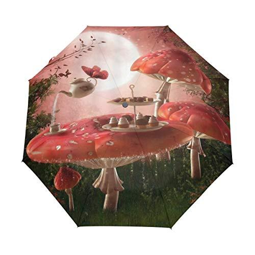 DUILLY Automatischer Regenschirm zum Öffnen/Schließen,Märchen-Gazebo-Retro- bunter Pavillon-hängende Laternen-Wiese blüht die szenische Frühlings-Natur,zusammenklappbarer Kleiner Sonnenschirm -