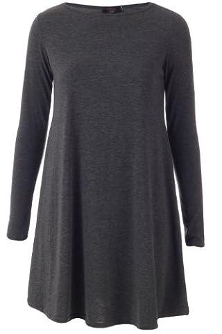 Fashion 4 Less New Womens Long Sleeve Plain Swing Smock Dress (SM-UK(8-10), Charcoal)