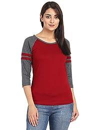 Pinaken Women's 3/4 Sleeve Round Neck Cotton T-Shirt
