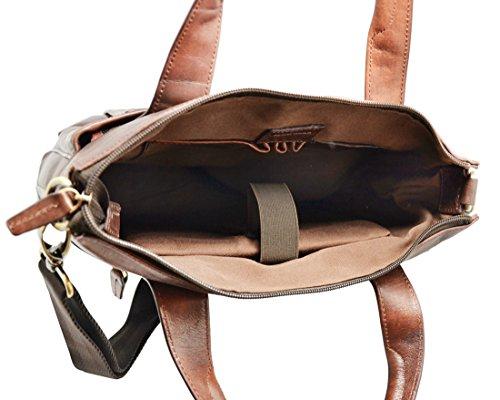 PARKER Messenger ventiquattrore uomo donna borsa a tracolla regolabile ipad computer portatile pelle italiana conciata al vegetale marrone scuro