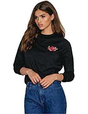 Hiroo Mujer Manga larga bordada cuello redondo Tops Blusa Camisa Camiseta casual
