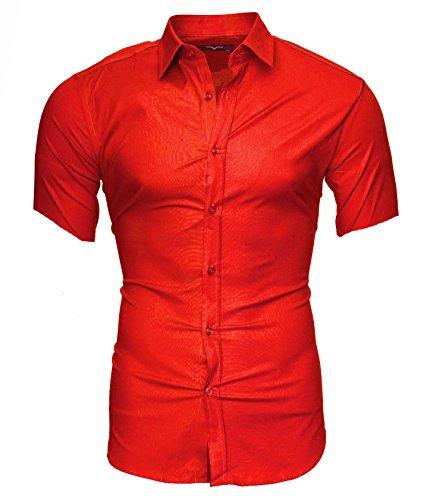 Kayhan Herren Kurzarm Hemd Caribic Rot (XXL) (Farbe Kleid Socken Herren)