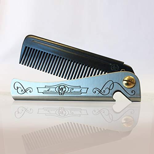 New Carbon Man Comb, Neuer \'Carbon\' Mann Kamm, carbon fibre comb. DAFT® faltbarer Metallkamm für Herren mit Flaschenöffner, sehr starker Herrenfaltkamm mit Metallgriff