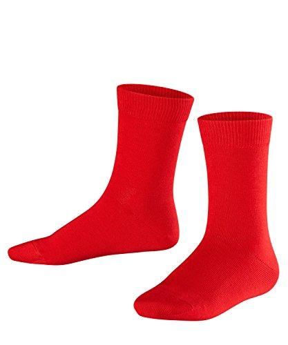 FALKE Kinder Family Baumwolle Strümpfe Einfarbig 1 Paar Casual Kids Socken, Blickdicht, fire, 19-22