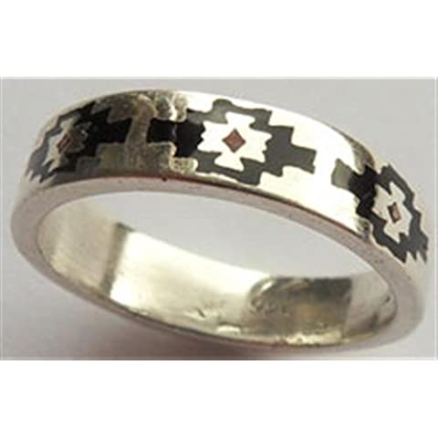Indiano anello - Navajo Style Anello in argento Sterling 925, Design - nero, n, 910030