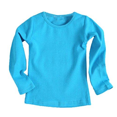 URSING Kinder Super Süß Langarmshirts Süßigkeit Clour Familienkleidung Langarmshirt Basic Schlichtes Einfarbige Sweatshirt Junge Mädchen T-Shirt Unisex Klassik Pullover (130CM, Blau) (Mädchen Shirt Schickes)
