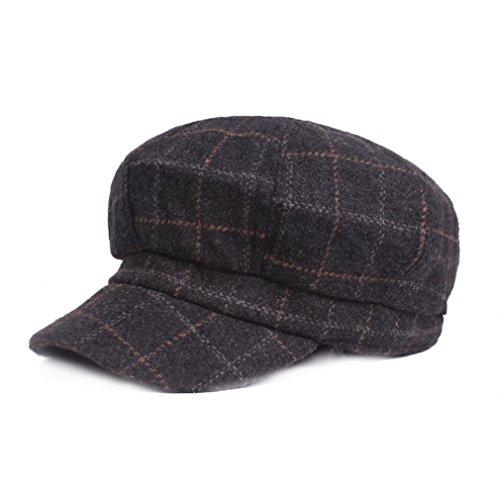 RICHTOER Women Vintage Berets Plaid Hat Octagonal Like Cashmere Hat Man Newsboy Cap (Black) (Für Cabbie Cap Frauen)