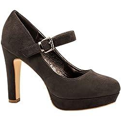 Elara Damen High Heels | Bequeme Spangen Pumps | Riemchen Stilettos Grau 39