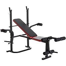 HOMCOM Banco de Pesas Multifuncional Tipo Banco de Musculación con Respaldo Ajustable Carga 150kg Acero 105x150x112cm