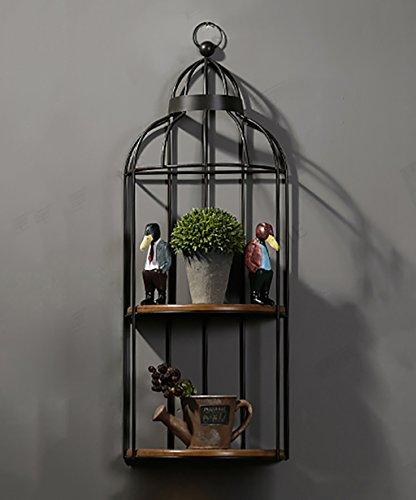 ZENGAI Porte-fleurs suspendues à la muraille Étagères à plantes à fleurs Fer Appliques murales Porte-pot à fleurs/Cage à oiseaux Décoration Noir blanc (Couleur : Noir, taille : 40*96cm)
