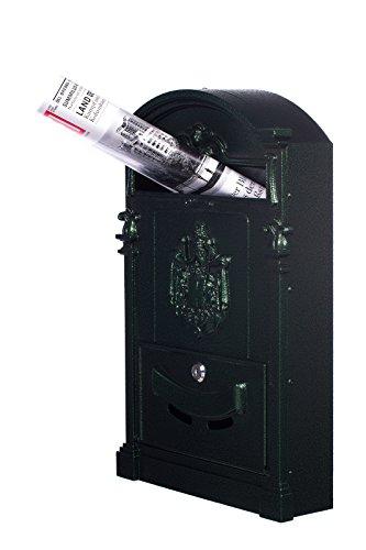 Antiker großer und sehr edler Briefkasten LB-001-Long Grün Wandbriefkasten, Briefkasten, Nostalgischer Englischer Briefkasten Alu – Guss 47 cm hoch . Mit Befestigungsmaterial für die Wand. mit 2 Schlüsseln , Rostfrei - 3
