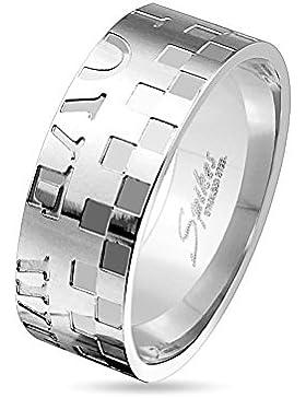 Paula & Fritz® Ring silber aus Edelstahl Chirurgenstahl 316L 6 oder 8mm breit Schachbrettmuster und Schriftzug...